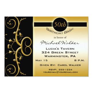 50.o Fiesta de cumpleaños en negro elegante y oro Invitación 12,7 X 17,8 Cm