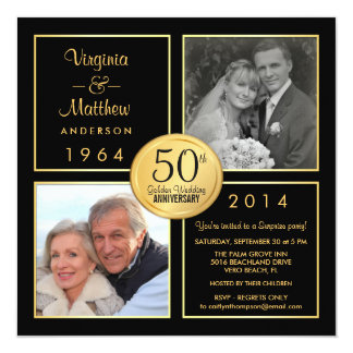 50.o Fiesta de sorpresa del aniversario de boda de Invitación 13,3 Cm X 13,3cm