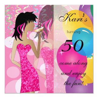 50.o Fiesta del chica del golpe del cumpleaños el Invitación 13,3 Cm X 13,3cm