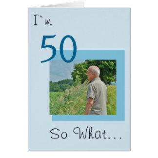 50.o Foto divertida del cumpleaños Tarjeta