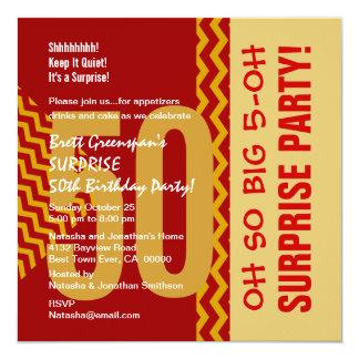50.o Galones rojos diagonales V03 del oro de la Invitación 13,3 Cm X 13,3cm