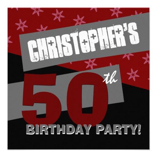 50.o Gris negro rojo moderno G21 de la fiesta de c Invitacion Personalizada