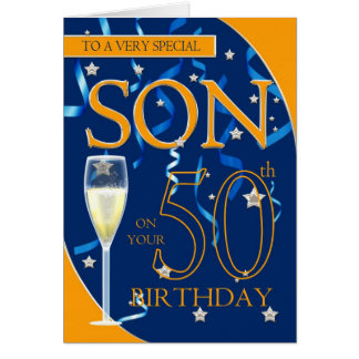 50.o Hijo del cumpleaños - vidrio de Champán Tarjeta De Felicitación