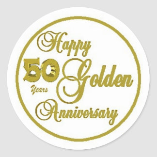 50.o Hoja del aniversario de 20 pegatinas redondos Pegatina Redonda