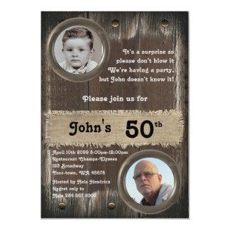 50.o, hombre de la fiesta de cumpleaños, cualquier invitación 12,7 x 17,8 cm
