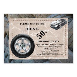 50.o, hombre del cumpleaños, cualquier edad, coche invitación 12,7 x 17,8 cm
