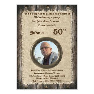 50.o, hombre del cumpleaños, cualquier edad, invitación 12,7 x 17,8 cm