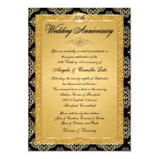 50.o Invitación  Black, damasco del aniversario