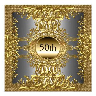 50 o Invitación de la fiesta de cumpleaños del oro