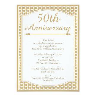 50.o Invitación del aniversario de boda Invitación 11,4 X 15,8 Cm