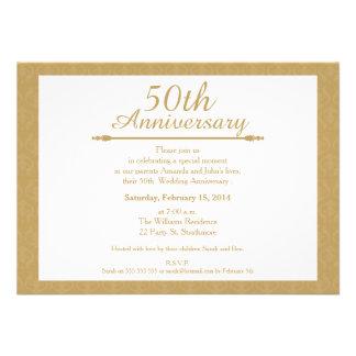 50 o Invitación del aniversario de boda del damasc