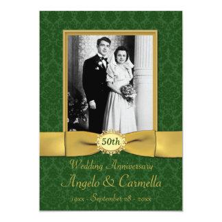 50.o Invitación del aniversario de boda en verde