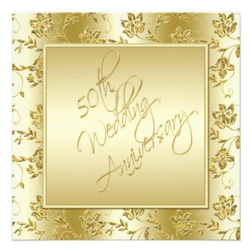 50.o Invitación del brillo del oro del aniversario