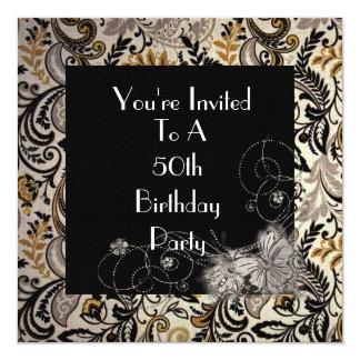 50.o Invitación del cumpleaños de las mujeres Invitación 13,3 Cm X 13,3cm