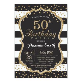 50.o Invitación del cumpleaños. Negro y purpurina