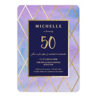 50.o Invitación del cumpleaños - oro, elegante,