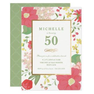 50.o Invitación del cumpleaños - oro, flores