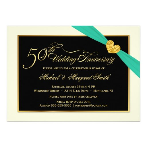 50.o Invitaciones de la cinta de la aguamarina del Invitaciones Personales