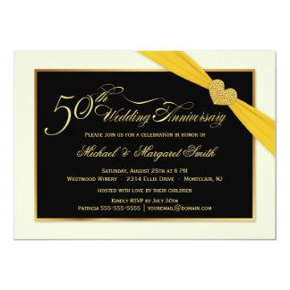 50.o Invitaciones de la cinta del oro del Invitación 11,4 X 15,8 Cm