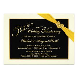 50.o Invitaciones de la cinta del oro del aniversa Invitaciones Personalizada