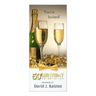 50.o Invitaciones de la fiesta de cumpleaños - oro Invitación 10,1 X 23,5 Cm