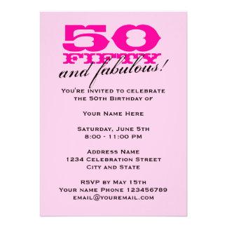 50 o Invitaciones de la fiesta de cumpleaños para