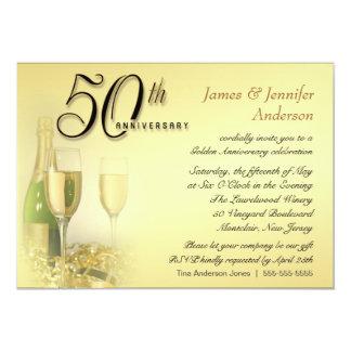 50.o Invitaciones de oro de la fiesta de Invitación 12,7 X 17,8 Cm