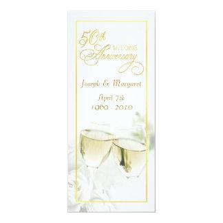 50.o Invitaciones del aniversario de boda - altas Invitación 10,1 X 23,5 Cm