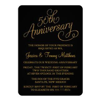 50.o Invitaciones del aniversario de boda de oro Invitación 12,7 X 17,8 Cm