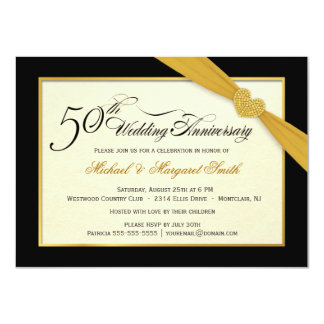 50.o Invitaciones del aniversario de boda de oro Invitación 11,4 X 15,8 Cm