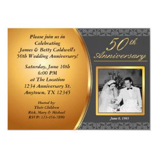 50.o Invitaciones del aniversario de boda Invitación 12,7 X 17,8 Cm