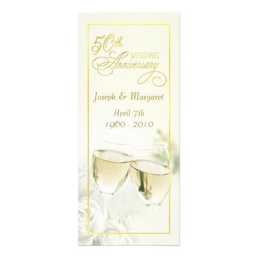 50.o Invitaciones del aniversario de boda - marfil Invitacion Personalizada