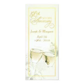 50.o Invitaciones del aniversario de boda - marfil Invitación 10,1 X 23,5 Cm