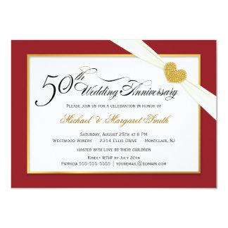 50.o Invitaciones del aniversario - rojo y oro Invitación 11,4 X 15,8 Cm