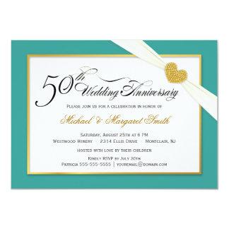 50.o Invitaciones del aniversario - trullo y oro Invitación 11,4 X 15,8 Cm