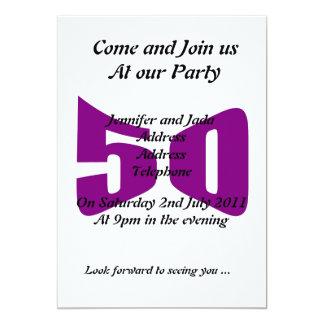 50.o Invitaciones del cumpleaños Invitación 12,7 X 17,8 Cm