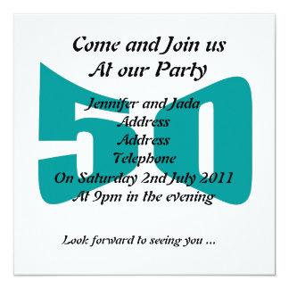 50.o Invitaciones del cumpleaños Invitación 13,3 Cm X 13,3cm