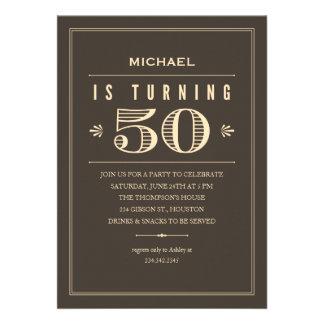 50.o Invitaciones del cumpleaños para los hombres Invitación