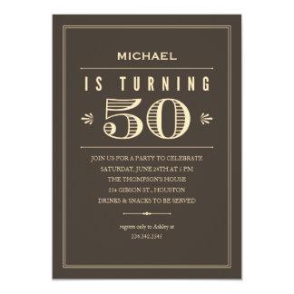 50.o Invitaciones del cumpleaños para los hombres Invitación 12,7 X 17,8 Cm