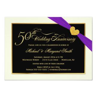 50.o Invitaciones púrpuras de la cinta del Invitación 11,4 X 15,8 Cm