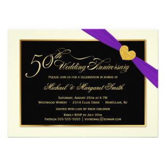 50 o Invitaciones púrpuras de la cinta del anivers Invitaciones Personalizada
