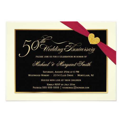 50.o Invitaciones rojas de la cinta del aniversari Comunicados Personalizados