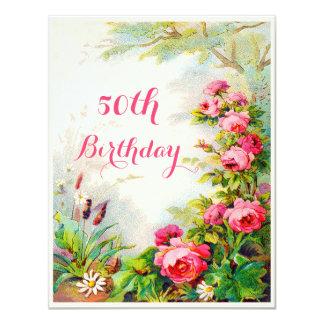 50.o jardín de la cabaña de los rosas del invitación 10,8 x 13,9 cm