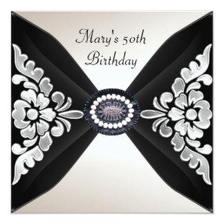 50.o Joya blanca negra elegante 2 del cumpleaños Invitación 13,3 Cm X 13,3cm