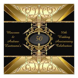 50.o Joya de oro del oro del aniversario de boda Invitación 13,3 Cm X 13,3cm