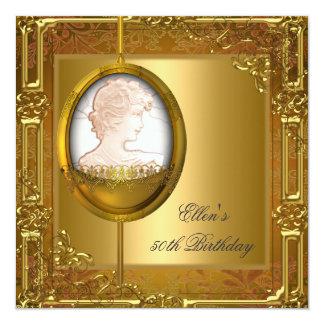 50.o Joya del camafeo del oro blanco de la fiesta Invitación 13,3 Cm X 13,3cm