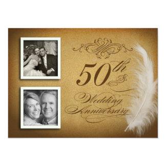 50.o La foto de lujo de la pluma 2 del aniversario Invitación 13,9 X 19,0 Cm