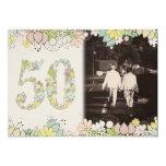 50.o La foto del aniversario de boda de oro del Invitación 12,7 X 17,8 Cm