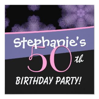 50.o La púrpura grande del cumpleaños florece D513 Invitación 13,3 Cm X 13,3cm