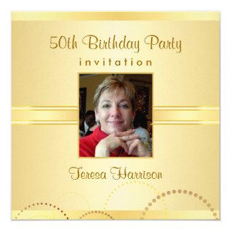 50.o Las invitaciones de la fiesta de cumpleaños - Invitación 13,3 Cm X 13,3cm